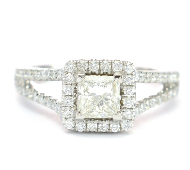 14K White Gold 5.25 Grams 1.41 Carats t.w. Diamond Halo Style Split Shank Ring