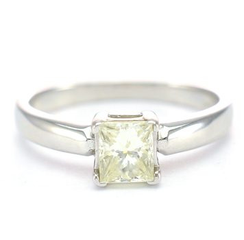 14K White Gold 3.09 Grams Princess Cut Diamond Solitaire Ring