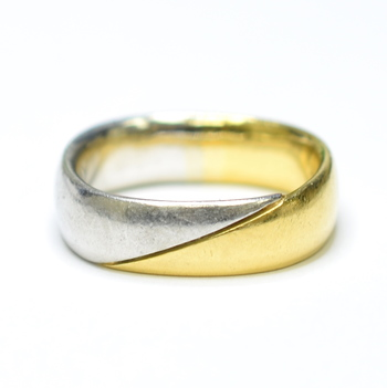 18K Yellow Gold and Platinum 18.60 Grams Unique Shape High Polished Ring