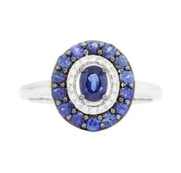14K White Gold 2.65 Grams Sapphire and Diamond Oval Shape Ring