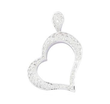 14K White Gold 5.30 Grams Pave Set Diamond Heart Shape Pendant Slider
