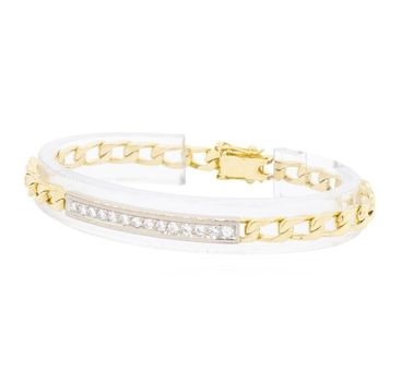 18K Two Tone Gold 19.25 Grams Diamond Link Chain Style Bracelet