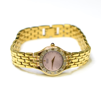 Seiko 20mm Stainless Steel & Plated Ladies Watch