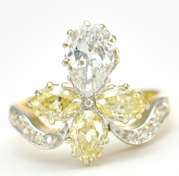 14K Yellow Gold 5.00 Grams 1.99 Carats t.w. Pear Shape and European Cut Diamond Lady's Ring
