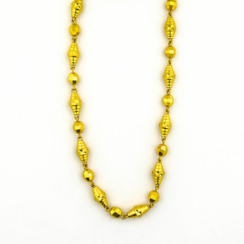 21K Yellow Gold 28.65 Grams Diamond Cut Design Beaded Style Necklace