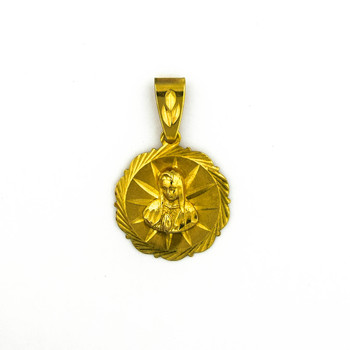 14K Yellow Gold 7.90 Grams Religious Themed Circle Pendant