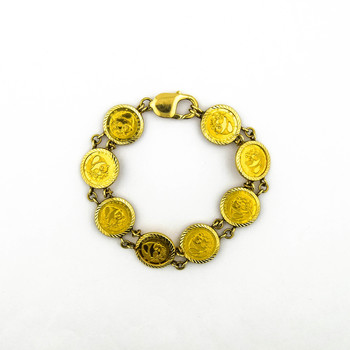 14K Yellow Gold 21.65 Grams Link Chain Style Coin Bracelet