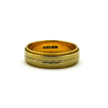 14K Two Tone Gold 5.45 Grams Traditional Wedding Band