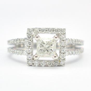 18K White Gold 4.30 Grams 1.12 Carats t.w. Mixed Cut Diamond Square Halo Style Split Shank Ring