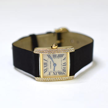 Cartier Tank 20x25mm 18K Rose Gold Custom Diamond Ladies Watch 1820