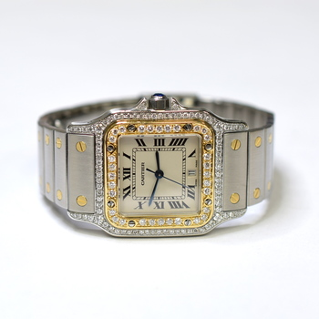 Cartier Santos Galbee 29mm Stainless Steel and 18KGold Custom Diamond Watch 1566
