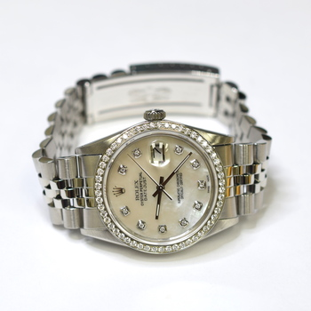 Rolex DateJust 36mm Stainless Steel Custom Diamonds Mother of Pearl Watch 16030