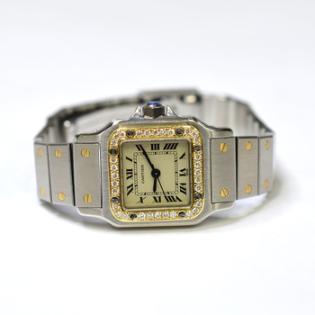 Cartier Santos 24mm Stainless Steel and 18K Gold Custom Diamonds Ladies Watch