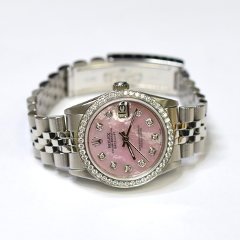 Rolex DateJust 31mm Stainless Steel Custom Diamonds Mother of Pearl Watch 68240