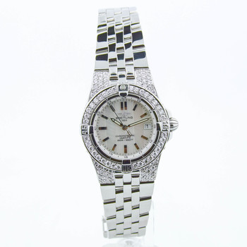 Breitling Starliner Ladies 30mm MOP Stick Dial Custom Diamonds Steel A71340