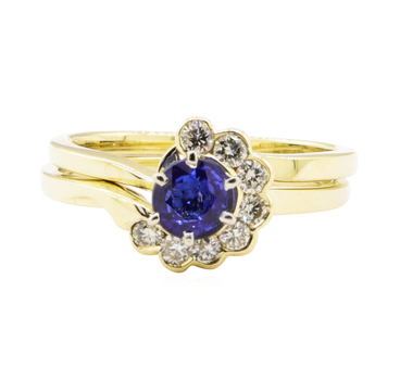 14K Yellow Gold 4.09 Grams Diamond & Sapphire Ring Set