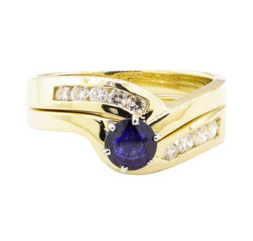 14K Yellow Gold 6.00 Grams Diamond Ring Set w/ Sapphire Center Stone