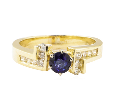 14K Yellow Gold 5.21 Grams Diamond Ring w/ Sapphire Center Stone