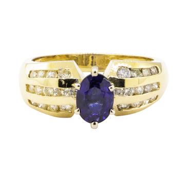 14K Yellow Gold 5.18 Grams Diamond Ring w/ Sapphire Center Stone
