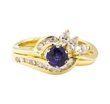 18K Two Tone Gold 5.60 Grams Diamond Ring w/ Sapphire Center Stone