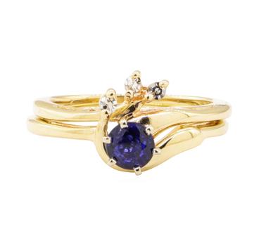 14K Yellow Gold 4.82 Grams Diamond Ring Set w/ Sapphire Center Stone