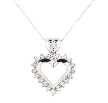 14K White Gold 5.20 Grams Diamond Heart Necklace