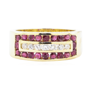 14K Yellow Gold 6.70 Grams Diamond & Ruby Fashion Ring