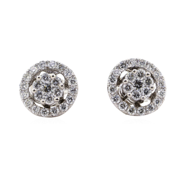 14K White Gold 2.40 Grams Diamond Stud & Jacket Earrings