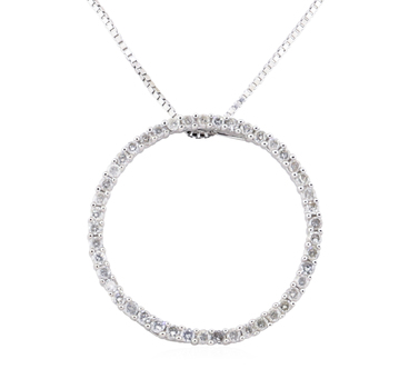 14K White Gold 3.60 Grams Circular Diamond Pendant