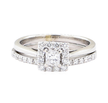 14K White Gold 4.60 Grams Diamond Square Cathedral Halo Style Ring