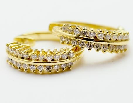 14K Yellow Gold 6.15 Grams 1.00 Carat t.w. Diamond Two Row Design Hoop Earrings