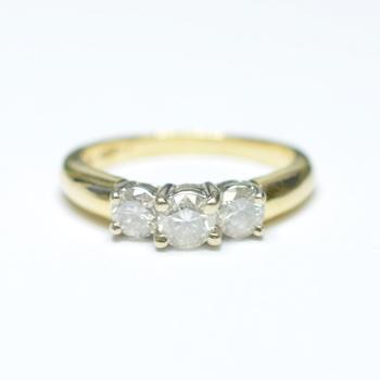 14K Two Tone Gold 4.15 Grams Round Diamond Three Stone Style Ring