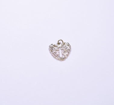 925 Silver 0.80 Grams Heart Shape and Cross Pendant