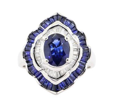 14K White Gold 10.40 Grams Sapphire/Diamond Double Halo Style Ring w/ Sapphire Center Stone
