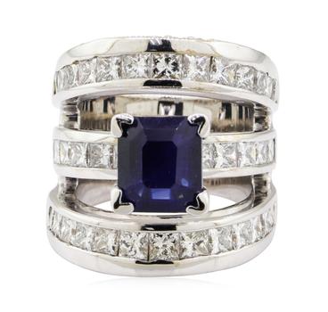 18K White Gold 23.20 Grams Diamond Ring w/ Sapphire Center Stone