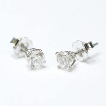 14K White Gold Round Diamond Stud Style Earrings