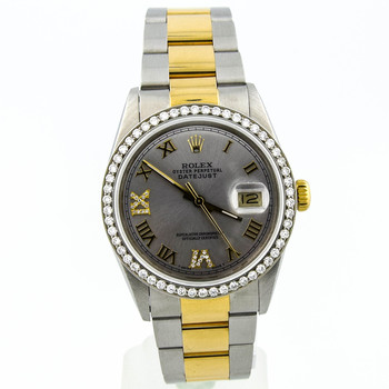 Rolex Datejust Unisex 36mm Silver Roman Diamond Dial 18kt Yellow/Steel 16000