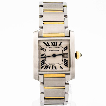 Cartier Tank Francaise Lady 25mm Silver Roman Dial 18kt Yellow/Steel 2465