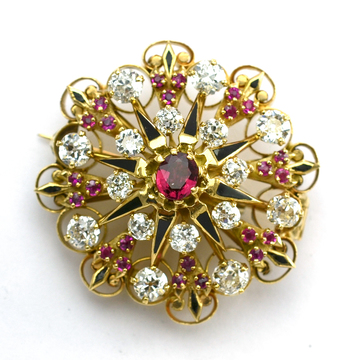 14K Yellow Gold 29.30 Grams Ruby and Diamond Lady's Brooch/Pin