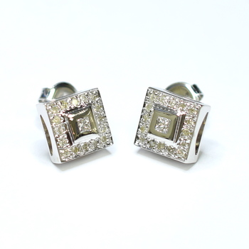 14K White Gold 6.35 Grams Square Diamond Earrings
