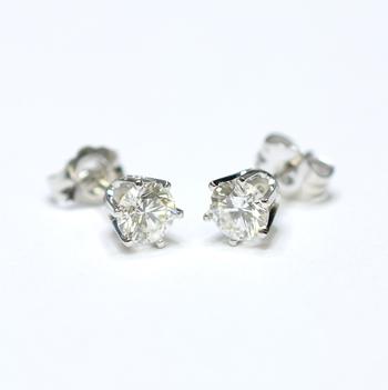 14K White Gold 1.00 Gram Six Prong Set Round Diamond Stud Earrings