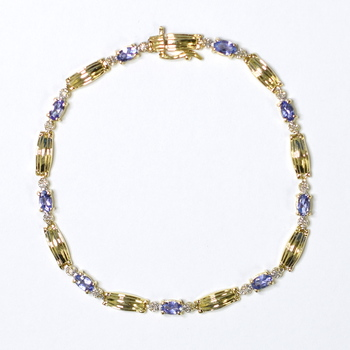 14K Yellow Gold 8.60 Grams Tanzanite and Diamond Bracelet