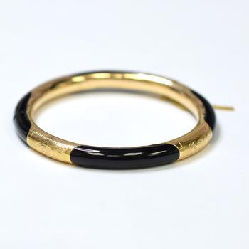 14K Yellow Gold 18.05 Grams Bangle Bracelet With Black Enamel