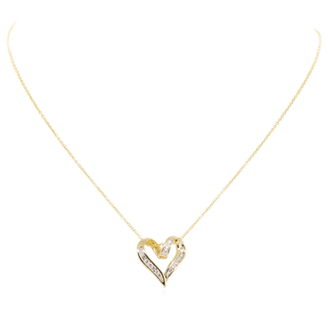 14K Yellow Gold 4.20 Grams Diamond Heart Pendant Slider With Chain Necklace