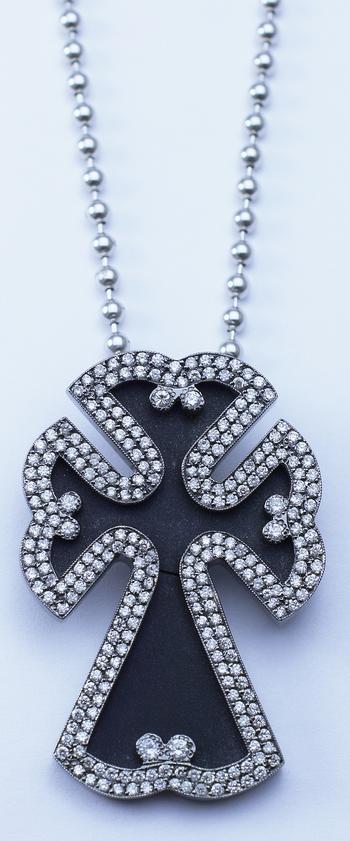 14K White Gold Round Diamond Unique Shape Cross Pendant