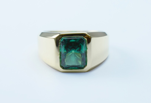 14K Yellow Gold 14.22 Grams Emerald Cut Lab Created Stone Ring