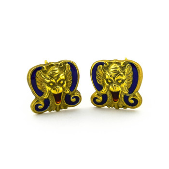 18K Yellow Gold 15.40 Grams Men's Cuff Links With Blue Enamel