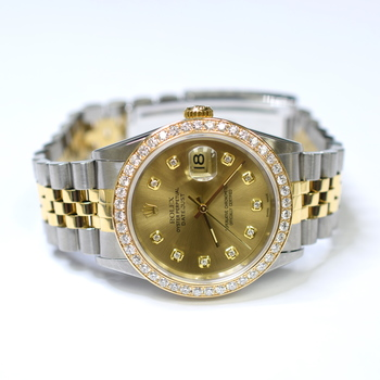 Rolex DateJust 36mm Stainless Steel and 18K Gold Custom Diamonds Watch 16233