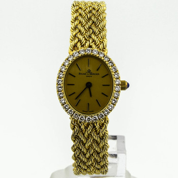 Baume & Mercier Lady Diamond Vintage 14KT Yellow Gold 19mmx24mm Champagne Stick Dial Watch 98522