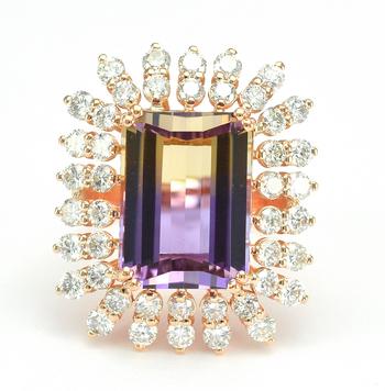 14K Rose Gold 11.60 Grams 1.71 Carats t.w. Diamond Halo Style Ring With 10.91 Carats Ametrine Quartz Center Stone